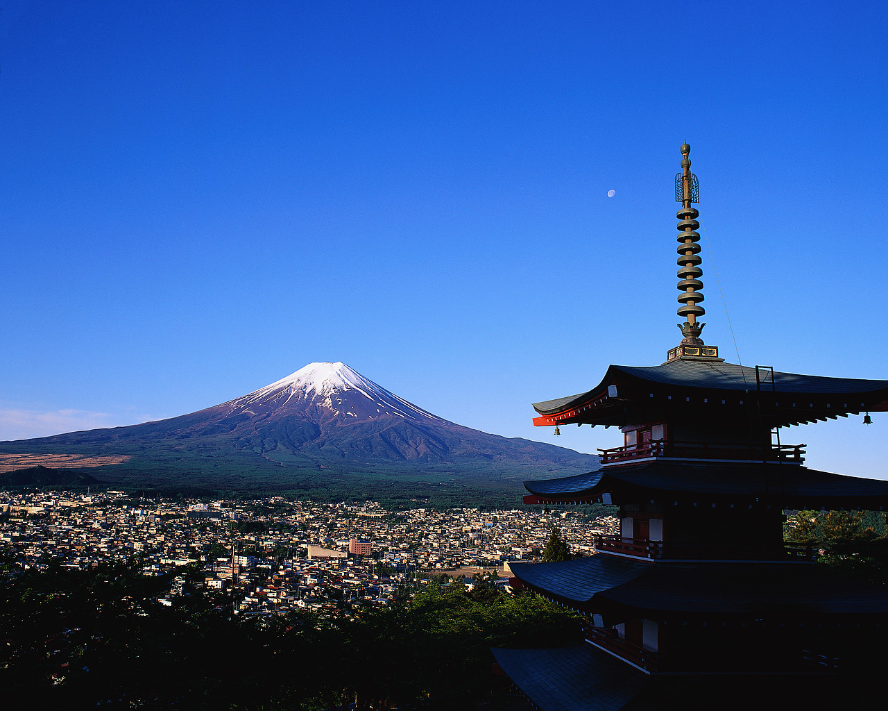 Mount Fuji and Japanese Temple