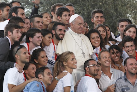 Pope poses with young people during encounter with youth in Cagliari, Sardinia