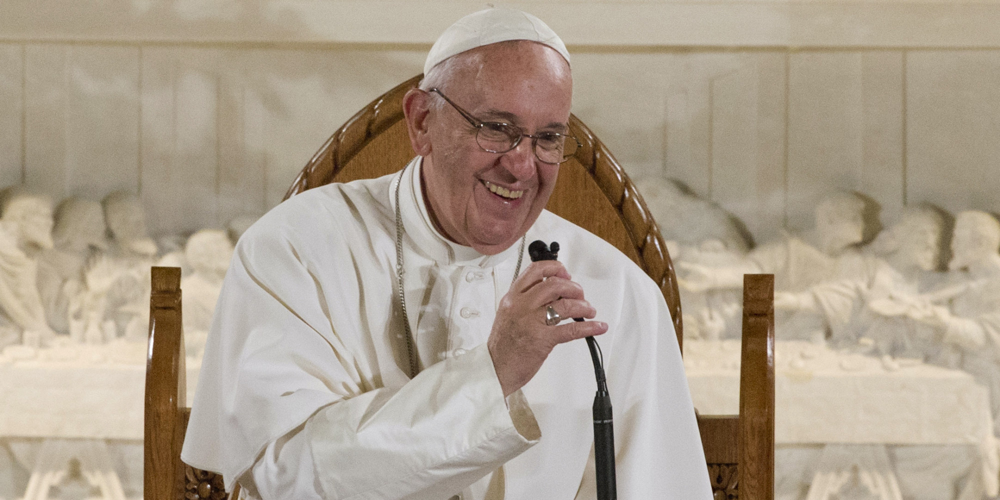 Pope Francis gestures during his speech at St. Patrick's Church in Washington, Thursday, Sept. 24, 2015, following his address to a joint meeting of Congress on Capitol Hill. (AP Photo/Alessandra Tarantino)