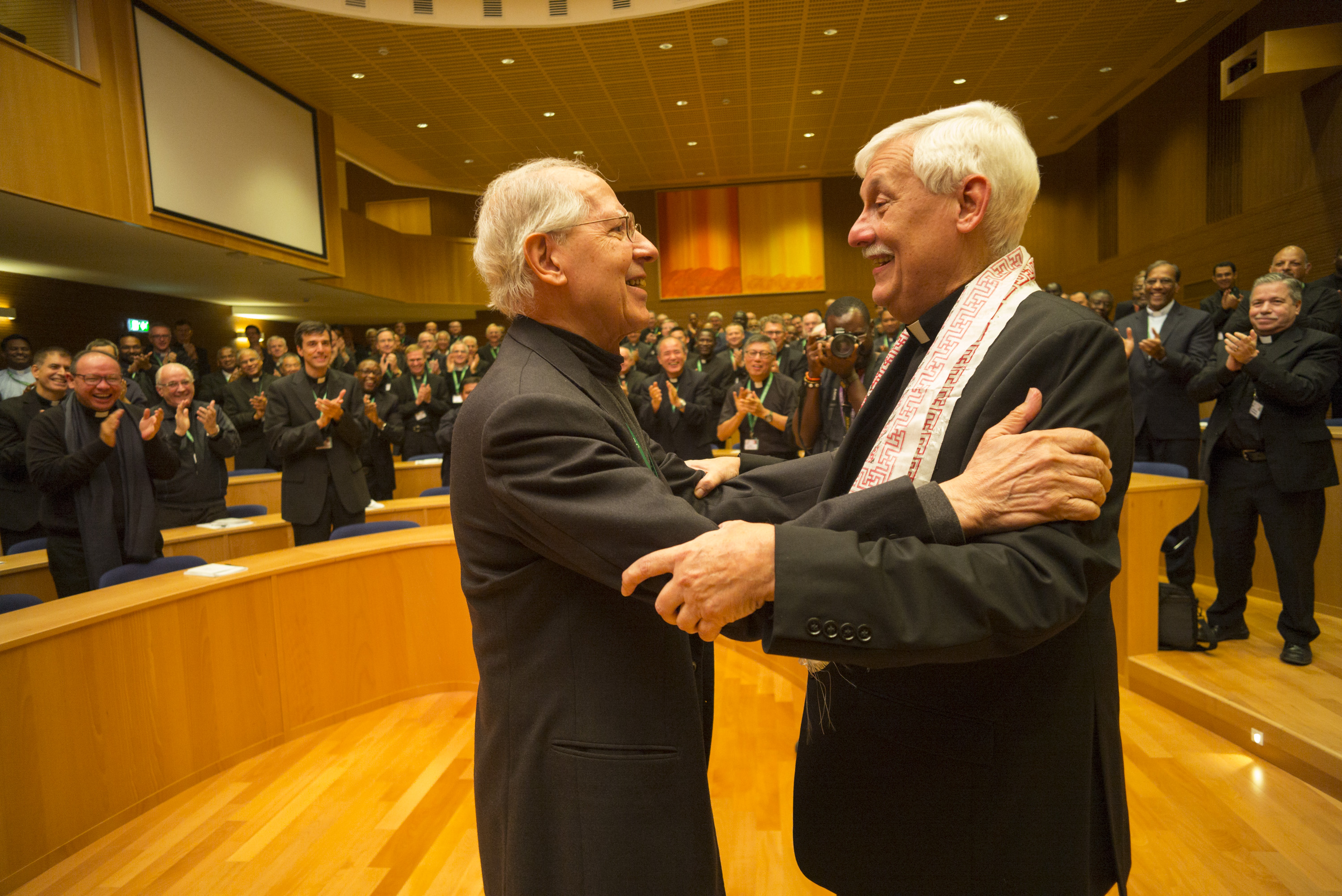 GC36 election of Fr. Arturo Sosa, of Venezuela, as Superior General of the Society of Jesus in the Aula by the Jesuits gathered from around the world.